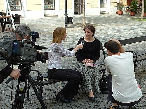 Margaret Porter with foreign press
